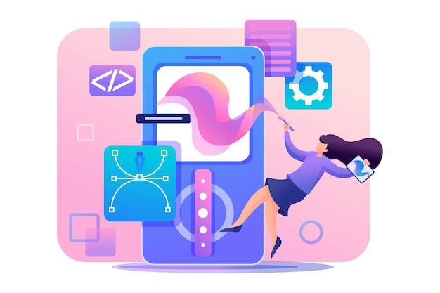 Girl designer houdt zich bezig met het ontwerp van het applicatieontwerp