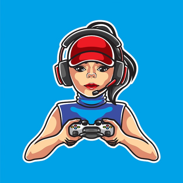 Girl gamers illustratie