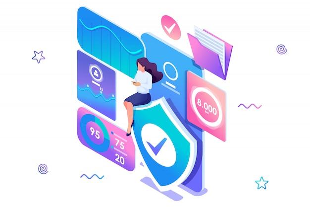 Girl installeert online applicatie om gegevens op uw telefoon te beschermen