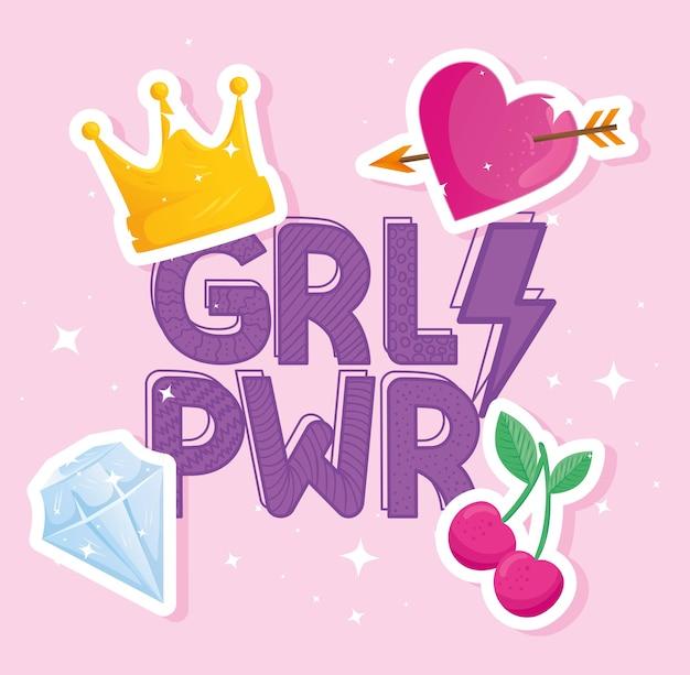Girl power belettering met set pop-art stijl iconen ontwerp
