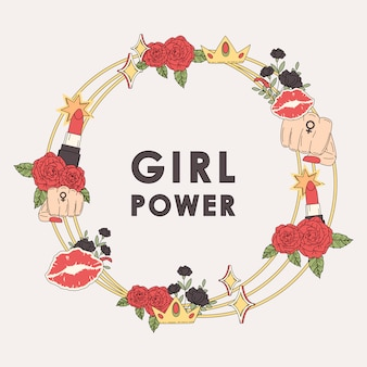 Girl power bloem frame vector