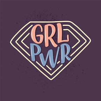 Girl power - citaat belettering. kalligrafie inspiratie grafisch ontwerp typografie-element. met de hand geschreven