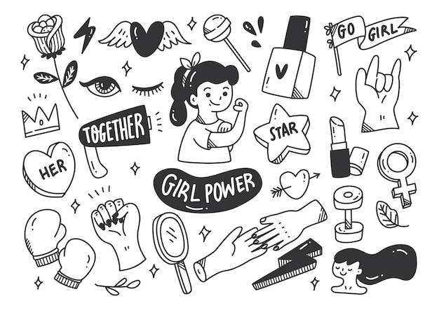 Girl power concept in doodle stijl vector