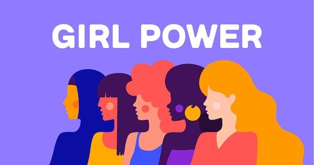 Girl power. eenvoudig karakter van vrouwelijke dame van verschillende nationaliteiten