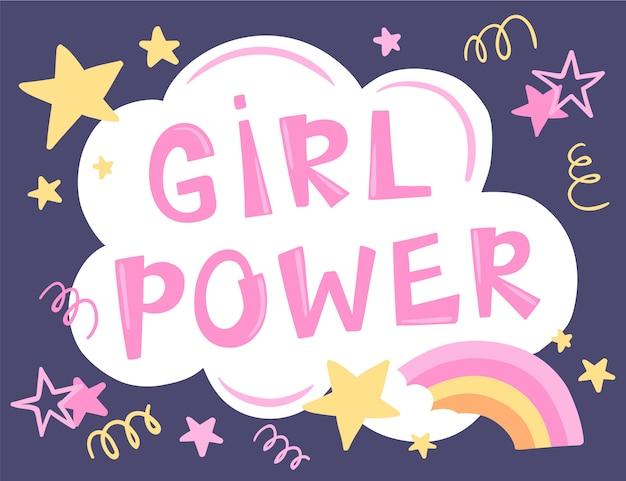 Girl power hand getekende letters. feminisme slogan. illustratie