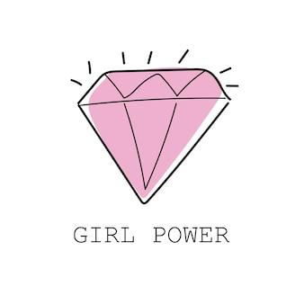 Girl power kleurrijke graffiti met decoratieve diamant - textiel grafische t-shirt print. vectorillustratie op witte achtergrond
