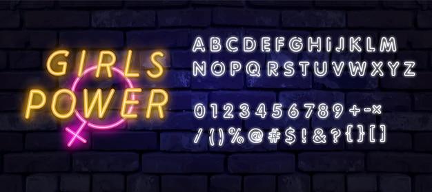 Girl power neon tekst. lichtreclame, heldere nachtreclame, kleurrijk uithangbord