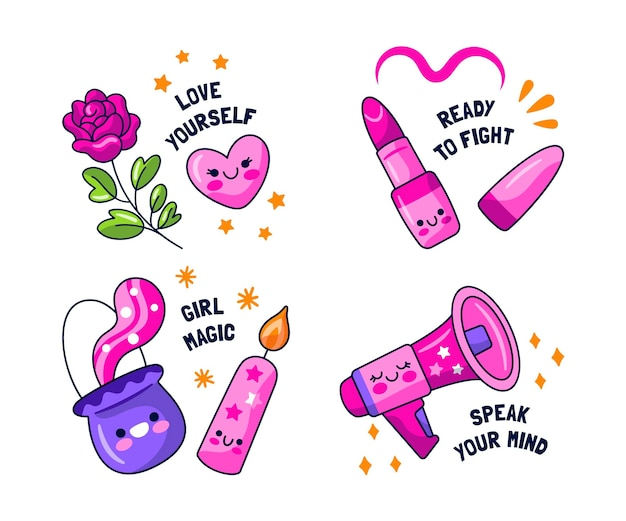 Girl power stickers collectie