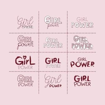 Girl power stickers set en tekst in donkerrood