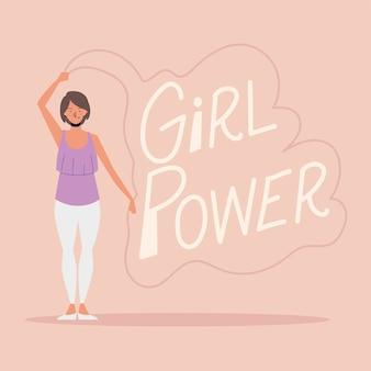 Girl power, vrouw met hand getrokken belettering kaart