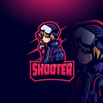 Girl shooter esport gaming mascotte sjabloon