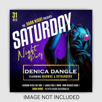 Girls night club dj party social media post design template premium vector