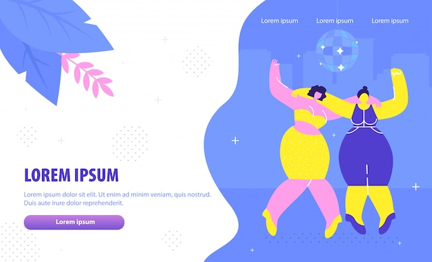 Girls party landing page flat vector template