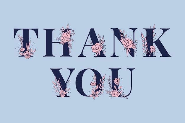 Girly dank u woord vector vrouwelijke typografie lettertype belettering