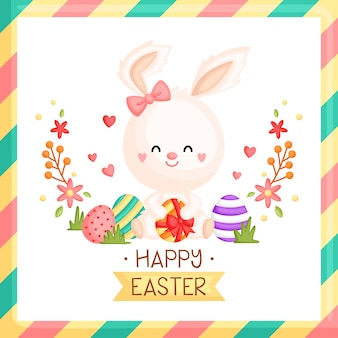 Girly easter bunny card