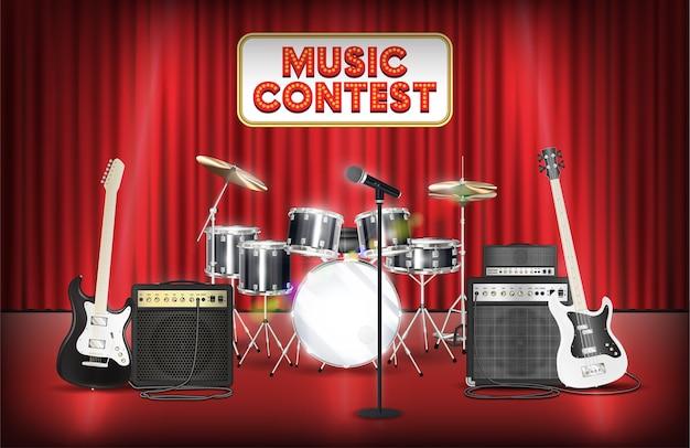 Gitaar basdrum en microfoonband op het podium