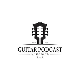 Gitaar en podcast, muzieklogo-ontwerp