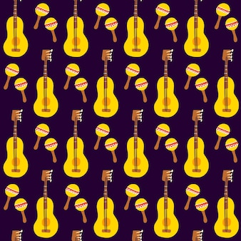 Gitaar maracas naadloze patroon. vectorillustratie van mexicaanse muziek achtergrond.