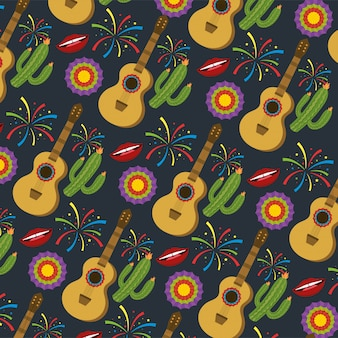 Gitaar met cactus planten en bloemen achtergrond