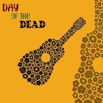 Gitaarbloemen dia de los muertos dag van de doden