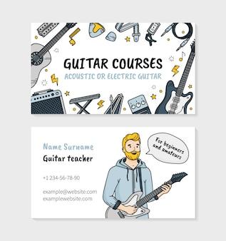 Gitaarcursussen of muziekschoolbezoekkaart in doodle-stijl