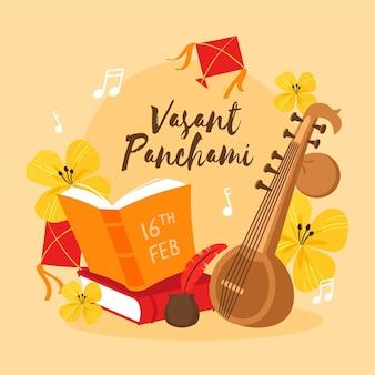 Gitaarinstrument gelukkig vasant panchami