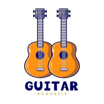 Gitaren akoestische muziek mascotte cartoon logo sjabloon. gitaar klassiek bewerkbaar logo.
