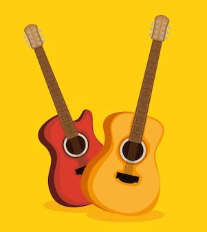 Gitaren elektrische en akoestische instrumenten