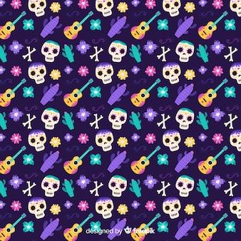 Gitaren en schedels naadloze hand getekend día de muertos patroon