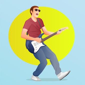 Gitarist die de elektrische gitaar speelt