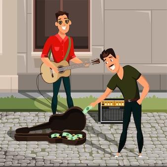 Gitarist en toeschouwer geld steken in stripfiguren gitaargeval