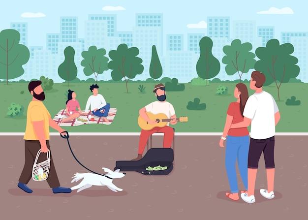 Gitarist op straat egale kleur. akoestische gitarist verdient geld. buiten muziekconcert. uitvoerende muzikant 2d stripfiguren met stadspark op de achtergrond