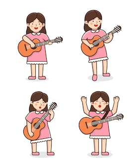 Gitarist vrouw illustratie set
