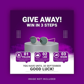 Give away win digital product instagram post banner template