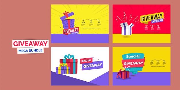 Giveaway banner ontwerp bundel cadeau banners sjabloon