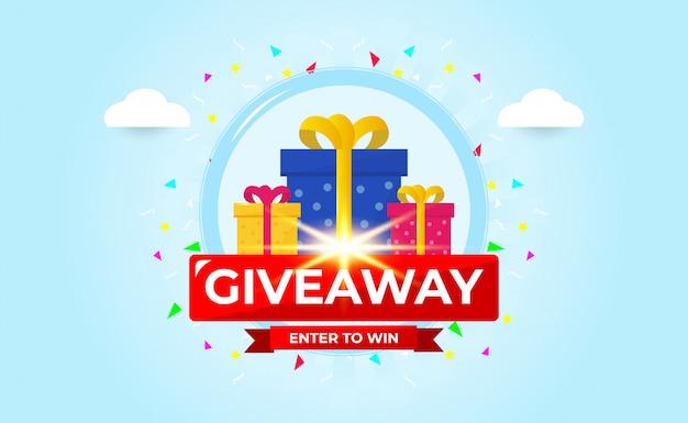 Giveaway banner sjabloonontwerp voor social media post.