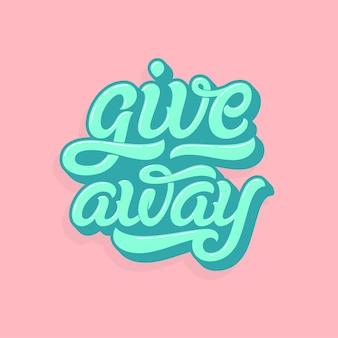 Giveaway belettering logo in zachte kleuren