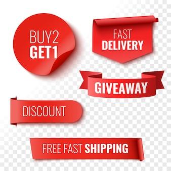 Giveaway koop 2 krijg 1 snelle levering korting en gratis verzending verkoop banners rode linten tags en stickers vector illustratie