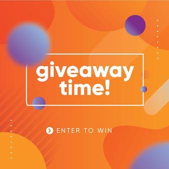 Giveaway levendige banner ontwerpsjabloon voor sociale media met oranje achtergrond