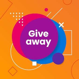 Giveaway poster met abstracte moderne geometrische vorm voor sociale media post sjabloon