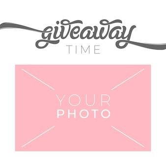 Giveaway-sjabloon voor spandoek voor sociale media met plaats voor uw foto