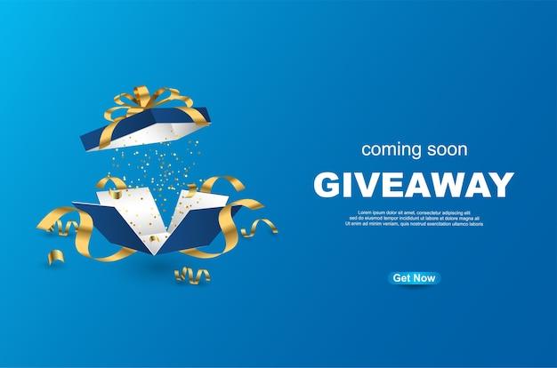 Giveaway sjabloonontwerp van de banner met open geschenkdoos