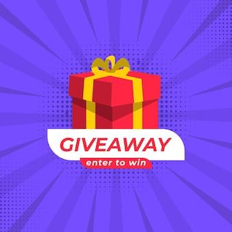 Giveaway social media wedstrijd vector sjabloon enter om te winnen like en deel