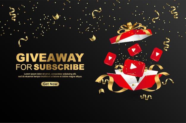Giveaway voor abonneren met realistische geschenkdoos met pictogram youtube op zwarte achtergrond