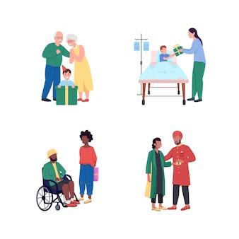Giving presenteert een egale kleur, gezichtsloze, gedetailleerde tekenset. man in rolstoel. jongen in kliniekbed. ontvang geschenken
