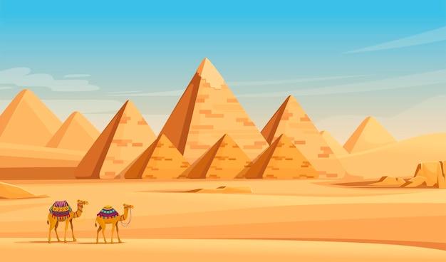Giza egyptische piramides woestijnlandschap met kamelen platte vector illustratie horizontale afbeelding.