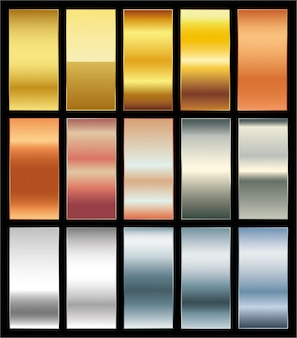 Gladde gouden premium gradiëntstalen palet set vector achtergrond van goud platina brons co