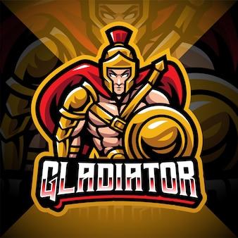 Gladiator esport mascotte logo ontwerp