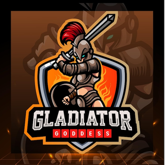 Gladiator godin mascotte. esport logo ontwerp Premium Vector