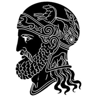 Gladiator spartaanse zwart-wit illustratieschets Premium Vector